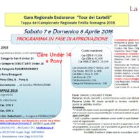"""SABATO 7 E DOMENICA 8 APRILE 2018: Gara regionale endurance """"Tour dei castelli"""""""